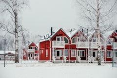Red townhouses in Finland stock images