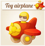 Red toy airplane. Cartoon vector illustration Stock Image