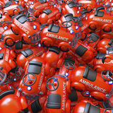 Red toy ambulance cars Royalty Free Stock Image