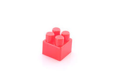 Red toy building brick isolated Stock Photos