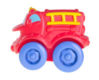 Red toy car for baby, Baby toy car on background Royalty Free Stock Photography