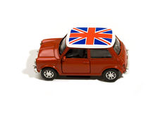 Red toy car with british flag Royalty Free Stock Images