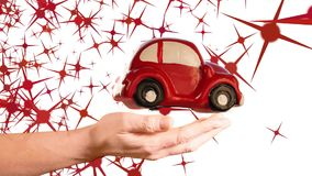 Red toy car model turning over woman hand. On a white background with stars shape animation stock video