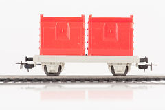 Red toy car. Pictured items of a toy railroad Stock Images