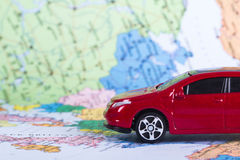 Red Toy Car for Travel Concept Royalty Free Stock Photo