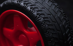 Red toy car wheel Stock Image