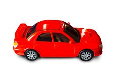 Red toy car on white background. Clipping path royalty free stock image