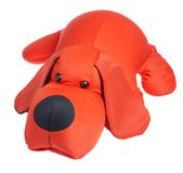 Red toy dog on a white background.  Royalty Free Stock Photo
