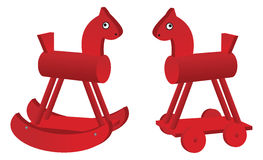 Red toy horses Royalty Free Stock Photos