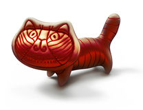 Red toy metallic cat  on white, italian style Royalty Free Stock Photography