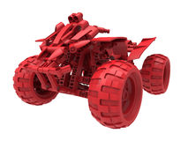 Red toy quad-bike. 3D rendered illustration of a red toy quad-bike. The object is  on a white background with no shadows Royalty Free Stock Images