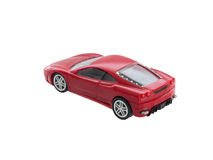 Red toy sport car from back isolated Stock Photos