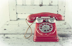 Red toy telephone Stock Photo