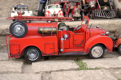 Red toy vintage metal car firetruck Stock Photography