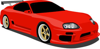 Red Toyota Supra Sports Car. A Red 1990's Toyota Supra Sports Car eps saved in layers for easy editing vector illustration