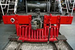 Red track cleaner of the steam train Royalty Free Stock Photography