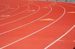 Red Track and Field lanes. Outside royalty free stock photography