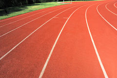 Red track lanes. At sprots stadium Stock Photography