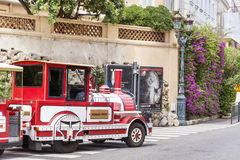 Red Trackless train  in  Monaco,Monte Carlo,France Royalty Free Stock Photo