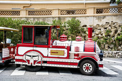 Red Trackless train  in  Monaco Stock Image
