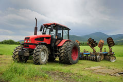 Red tractor royalty free stock photography