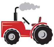 Red tractor. Agricultural tractor, tractor icon, tractor symbol Royalty Free Stock Image