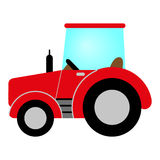 Red tractor. With cab, wheels and exhaust Vector Illustration