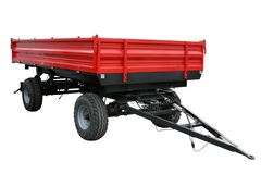 The red tractor cart. Isolated on a white background Stock Photos