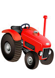 Red tractor close up Stock Photo