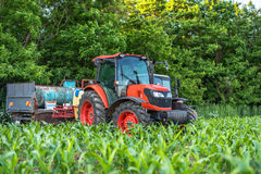 Red tractor cultivating field under blue sky. Red tractor on a green field Royalty Free Stock Photos