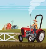 Red tractor and driver on  small farm Royalty Free Stock Images