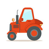Red tractor, heavy agricultural machinery colorful cartoon vector Illustration Stock Photo