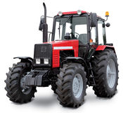 Red tractor. Tractor isolated on white background stock images