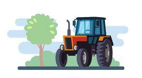 Red tractor on landscape in flat design. vector illustration