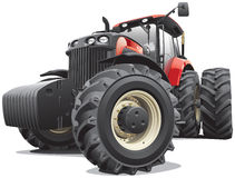Red tractor with large wheels. Detail vector image of large modern red tractor, isolated on white background. File contains gradients and transparency. No blends stock illustration