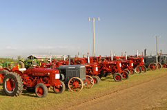 Red tractor lineup Royalty Free Stock Photo