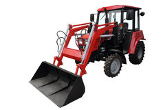 Red tractor loader. Stock Photos