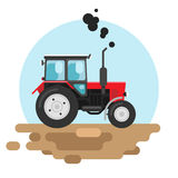 Red tractor a side view. Vector illustration of a red tractor Stock Photo