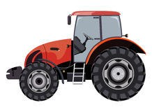 Red tractor. A side view on white background royalty free illustration