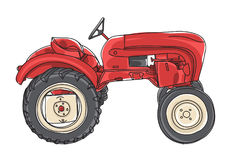 Red Tractor  Vintage hand drawn vector art illustration Stock Images