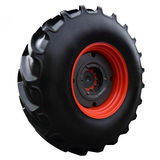 Red tractor wheel Stock Images