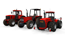 Red Tractors Isolated Stock Photo