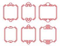 Red traditional Chinese frame vector art set design vector illustration