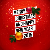 Red traditional Christmas card 2015. Royalty Free Stock Images