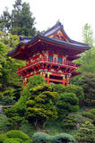 A red traditional Japanese building stock photo