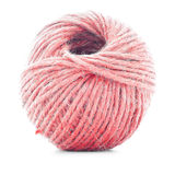 Red traditional skein, crochet thread roll isolated on white background Stock Image
