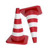 Red traffic cones isolated Royalty Free Stock Photos