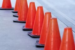 Traffic cones on the road stock photo