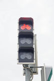 Red traffic light for bicycles Royalty Free Stock Photography
