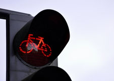 Red traffic light for bicycles Royalty Free Stock Images